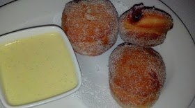 Raspberry Beignets with Vanilla Dipping Sauce