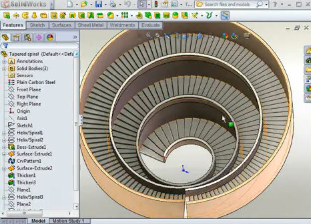 Solidworks Share How To Create 3d Model Spiral Stairs In Solidworks2012