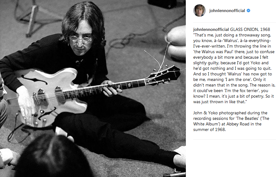 Beatles Magazine John Lennon Official Instagram Page Posted A Photo During The Recording Session For White Album