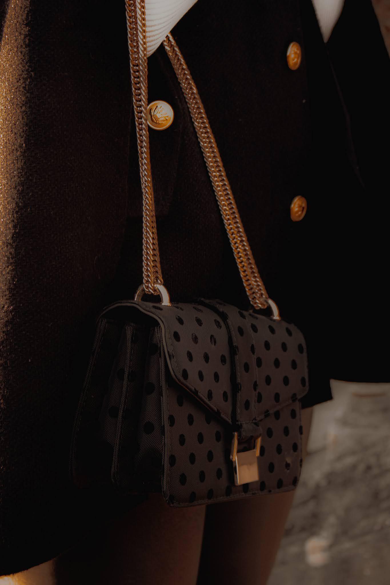 Zara black polka dot chain bag