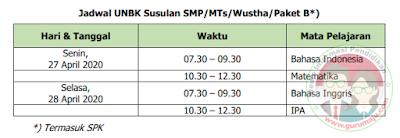 Jadwal UNBK SMP 2020 Paket B Susulan
