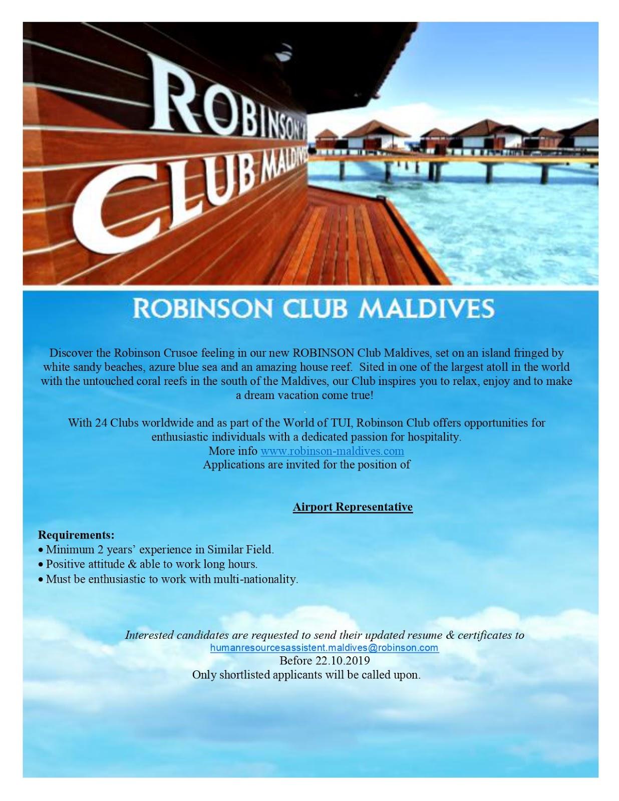 Job Maldives Airport Representative Job Vacancy At Robinson