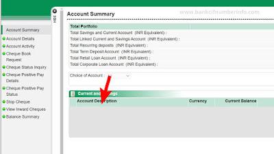 Go to Account Summary option