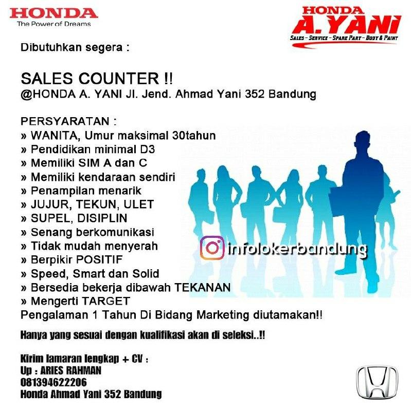 Lowongan Kerja Sales Counter Honda A.Yani Bandung Februari 2018