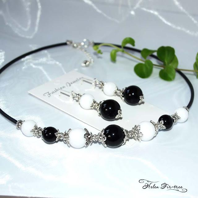 Helen Fir-tree náhrdelník jadeit obsidián  bižuterie