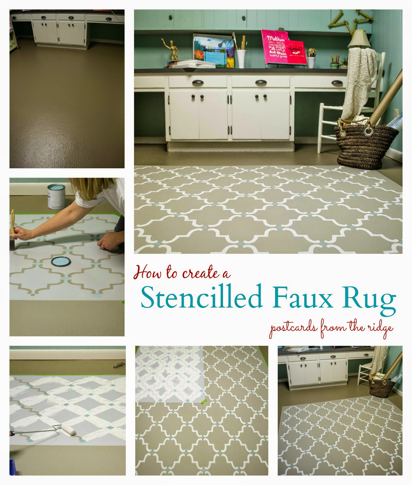 Gorgeous stenciled faux rug! Postcards from the Ridge