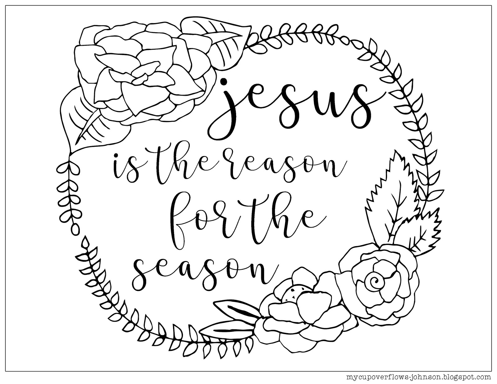 My cup overflows christmas coloring pages for Jesus is the reason for the season coloring pages
