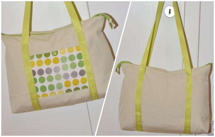 Ruckzuck Tasche Vorderansicht und Rückansicht, vorne kontrastfarbene Aufsatztasche, hinten keine Tasche, umlaufende Träger