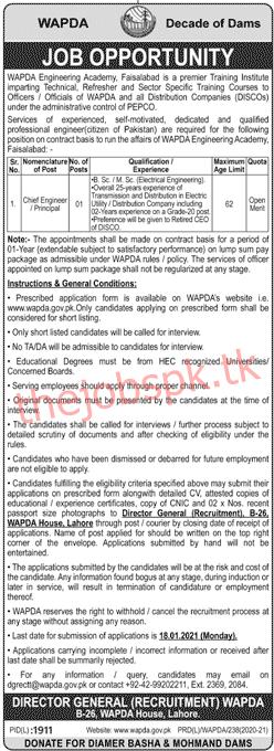 Latest Wapda Engineering Academy Management Posts 2021