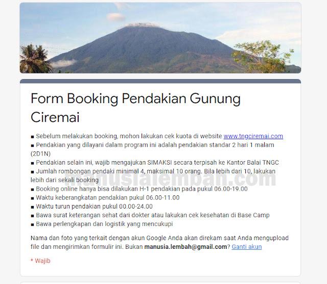 cara booking online pendakian gunung ciremai