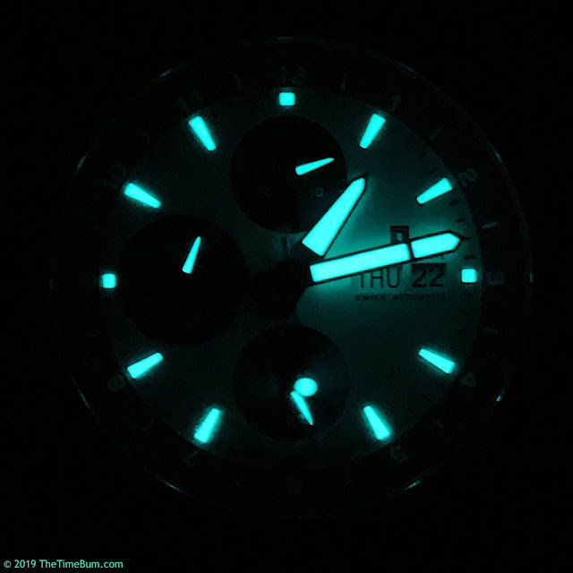 Jubileon Superellipse Chronograph Blue on White lume