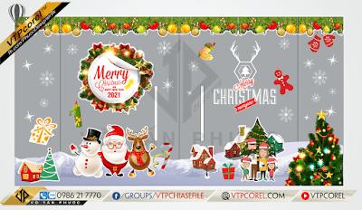 Decal trang trí Noel dán kính Merry Christmas
