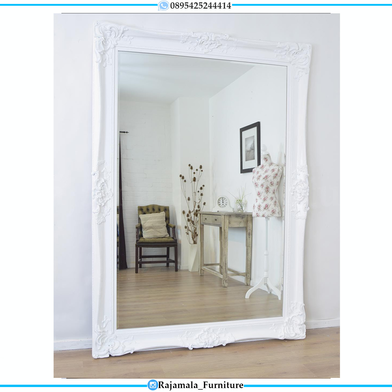 Cermin Hias Mewah Putih Duco Luxurious Design Exclusive Carving RM-0505