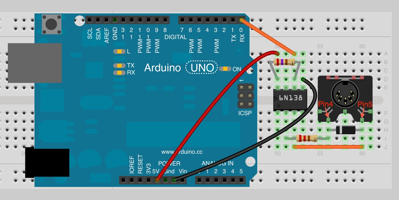 Notes And Volts Fun With Arduino Midi Input Basics Isp In System Programming Standalone Circuits Open Circuit On The Breadboard