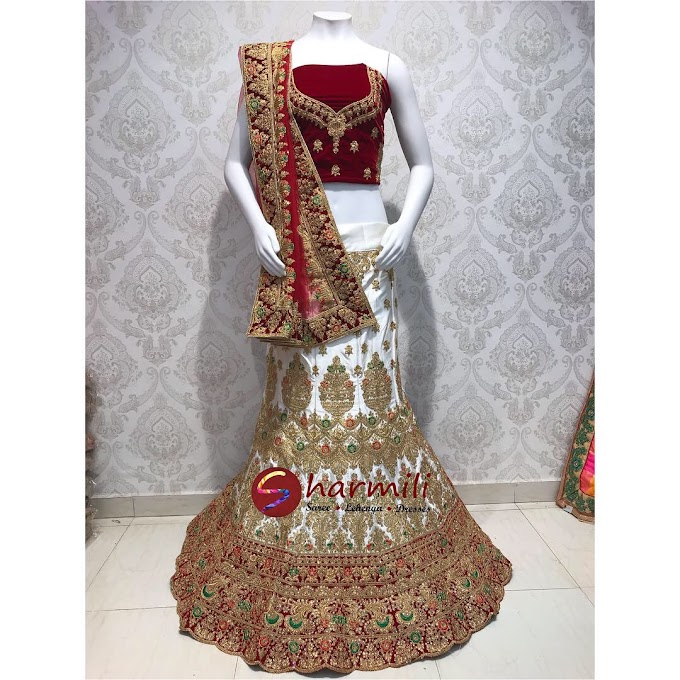 White Marun wedding Lehenga With Marun Dupatta All Over Golden zari Work
