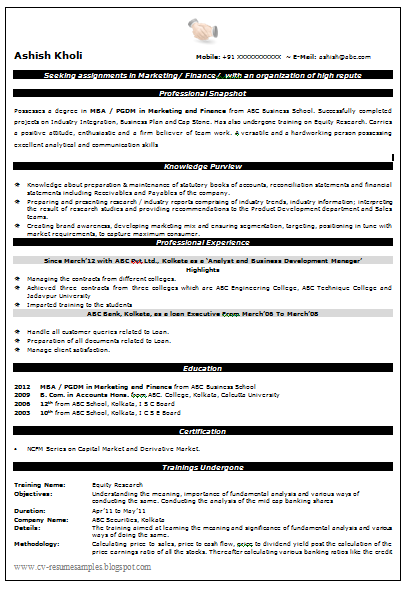 Resume Format For Mba Finance – Resume Format for Mba Finance