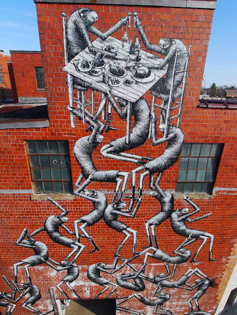 New Street Art Mural By Phlegm which was painted on the wall of an old Bourbon distillery in Lexington Kentucky.3