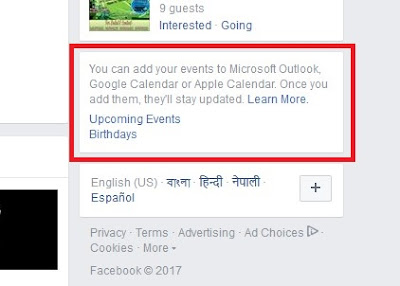 Export Facebook events to Outlook Google Calendar Windows Calendar