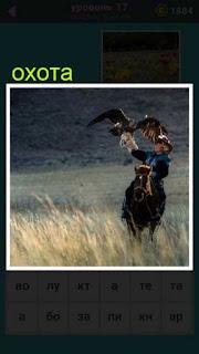 в поле на лошади скачет охотник с птицами на руках для охоты 667 слов 17 уровень