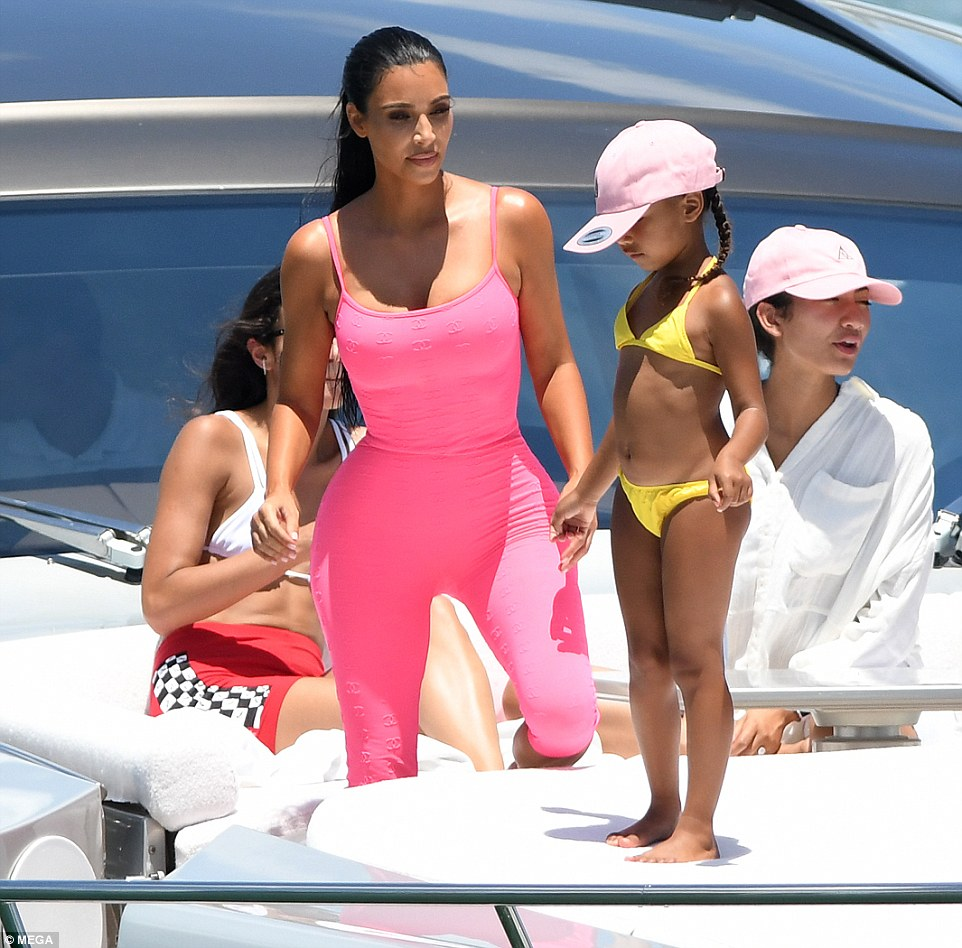 Kim Kardashian flaunts sensational figure during boat trip with Saint and North in Miami