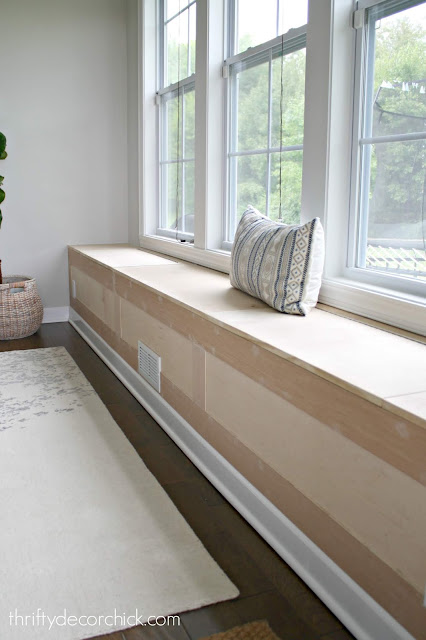 Building a long window seat with storage