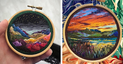 A beautiful embroidery design of mountains