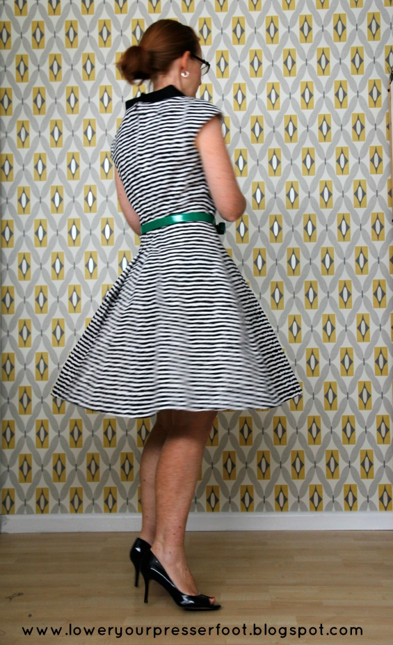 Burda 3/2016 #125 black and white stripe dress with full skirt www.loweryourpresserfoot.blogspot.com