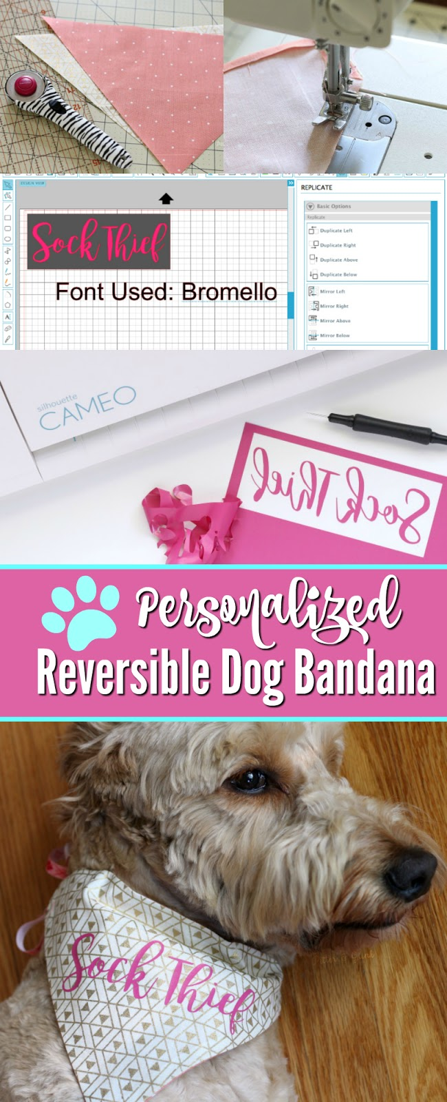 How to Make a Reversible, Personalized Dog Bandana | Use basic sewing skills, your Silhouette and HTV to create a unique pet accessory. pitterandglink.com
