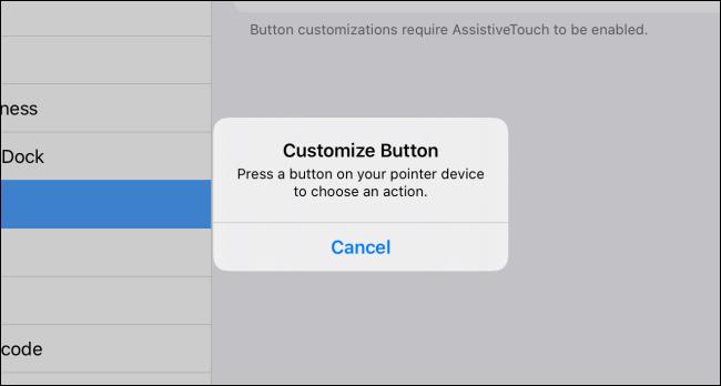 تخصيص الزر المنبثق في iPadOS
