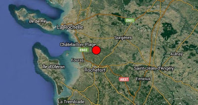Earthquake epicenter map of La Rochelle, France