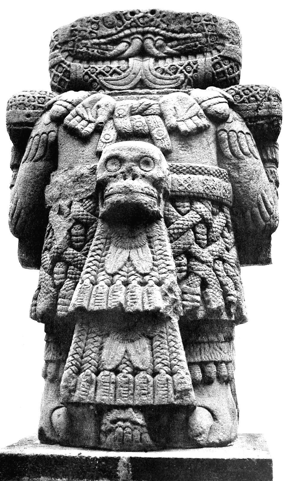 an Aztec demon in stone