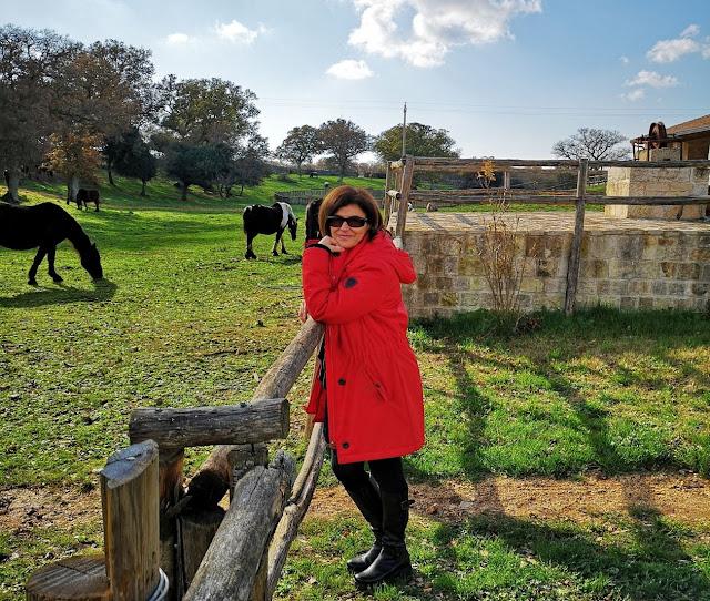 Donna con cappotto rosso nella natura