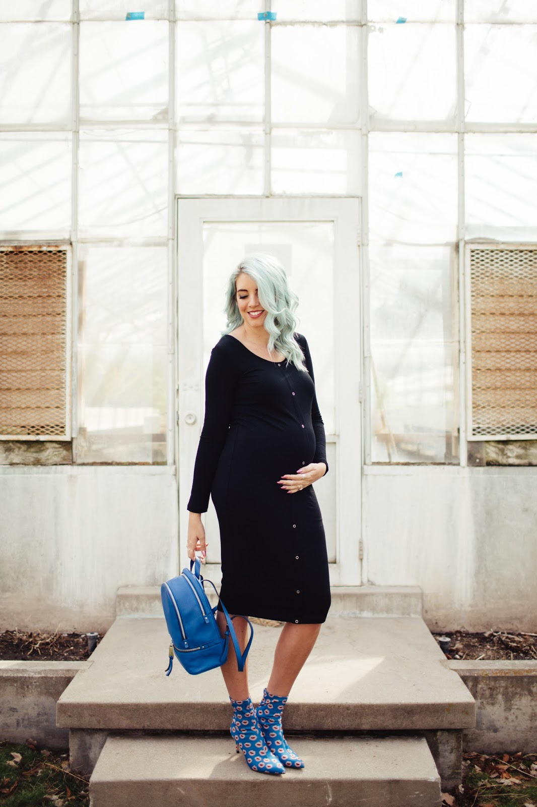 Pregnant Style, Black Dress, Blue Backpack, SeneGence Distributor