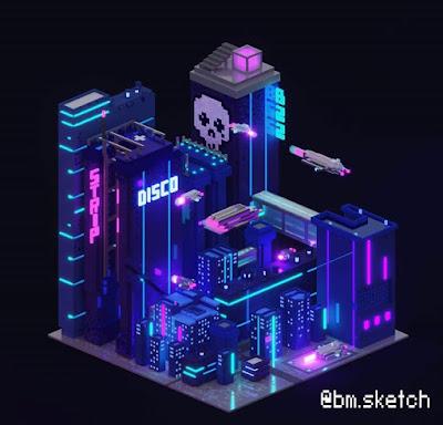 Neon Voxel Buildings