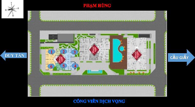 Phối cảnh vị trí các tòa tháp căn hộ và văn phòng cho thuê