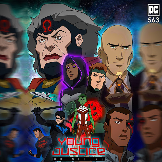 The primary cast of Young Justice Outsiders including Halo, Geo Force, Terra, Lex Luthor, Nightwing, granny Goodness, Cyborg