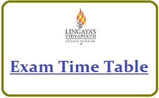 Lingaya's University Exam Date Sheet 2020