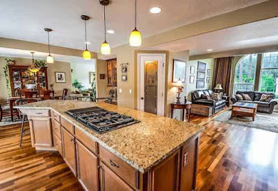 Open concept home with nice kitchen, dinning room and living room.