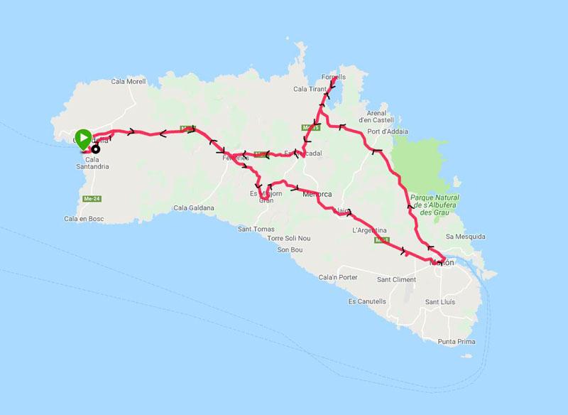 Giro in bicicletta a Menorca di circa 110 km