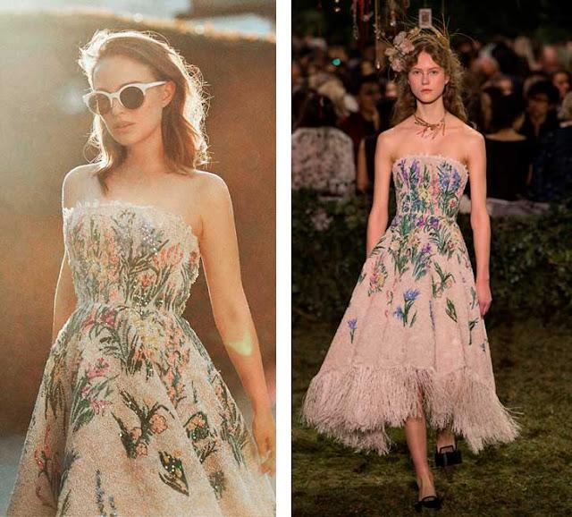 Natalie Portman como Miss Dior e look em desfile