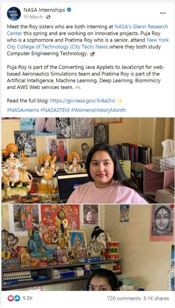 रॉय भगिनींचा उल्लेख असलेली नासाची पोस्ट