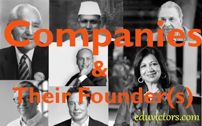 Companies And Their Founder(s)  (#eduvictors)(#GeneralAwareness)(#CurrentAffairs)(#compete4exams)