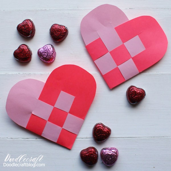 This woven heart basket is a fun paper craft I learned in third grade. We used giant pieces of butcher paper to make woven hearts for our Valentine's boxes. Just a couple of pieces of light weight paper is all it takes to make this cute little heart. Great for a last minute Valentine surprise!