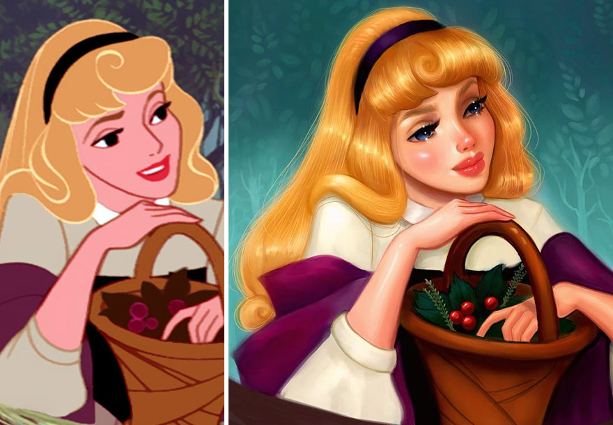 #7 Aurora, Sleeping Beauty - llustrator Repaints Disney Princesses In Her Unique Style