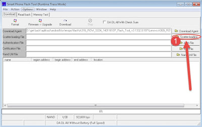 Tekan Scatter Loading pada SP Flashtool bertanda [1]