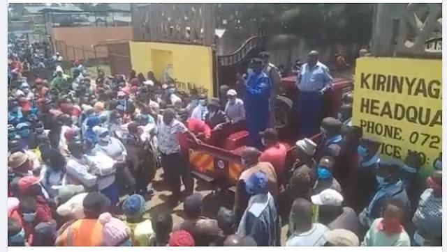 Kirinyaga residents storming UDA offices demanding Purity Ngirici to talk photo.