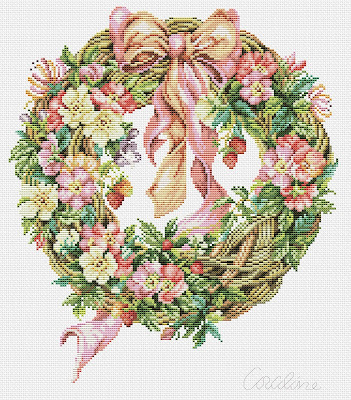 Ghirlanda di rose primaverili -cross stitch free pattern