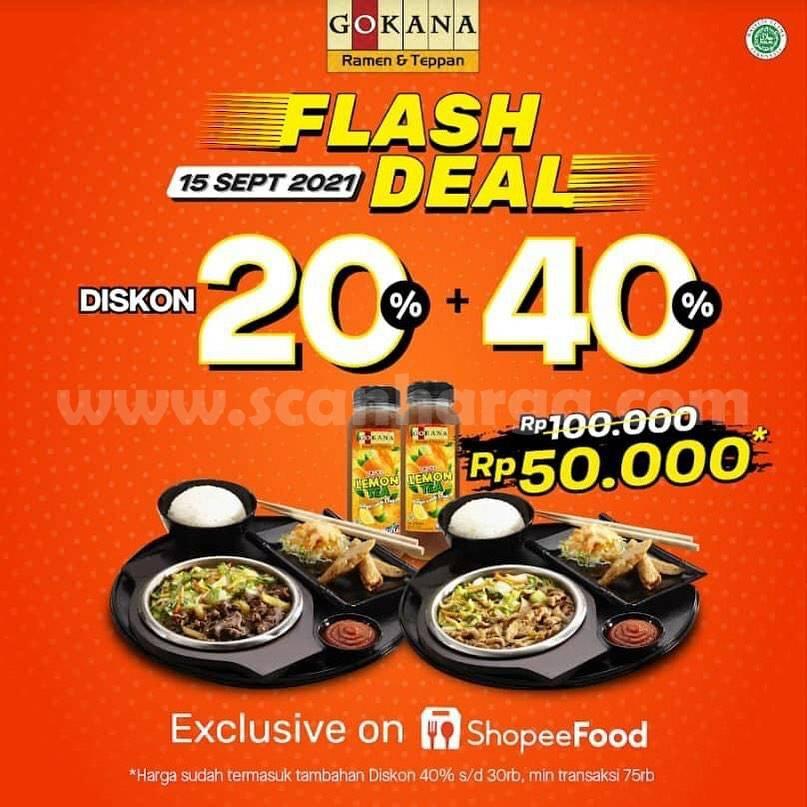 GOKANA Promo FLASH DEAL SALE – Diskon 20% + 40% via SHOPEFOOD
