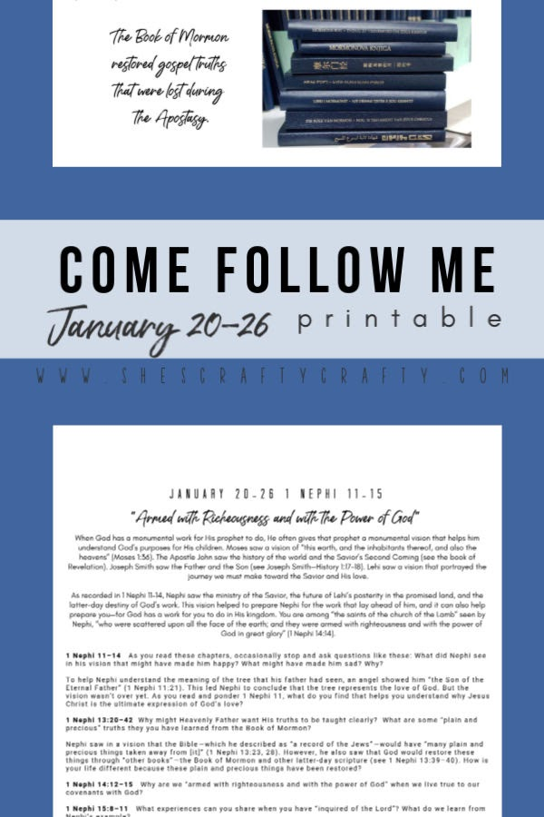 Come Follow Me Printable January 20-26 - Printable for your family to study Come Follow Me