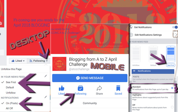 Facebook see updates in newsfeed #atozchallenge